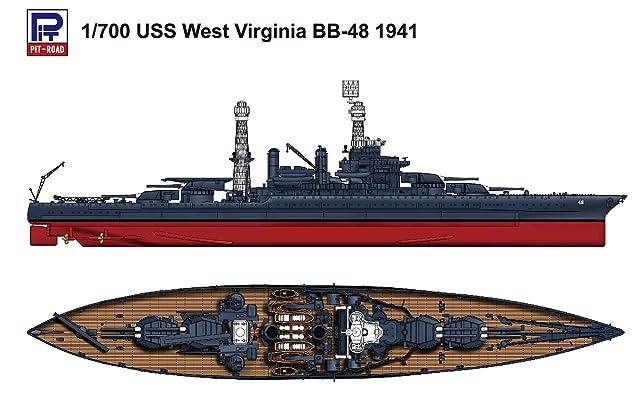 ピットロード 1/700 米国海軍 戦艦 ウェスト・ヴァージニア 1941