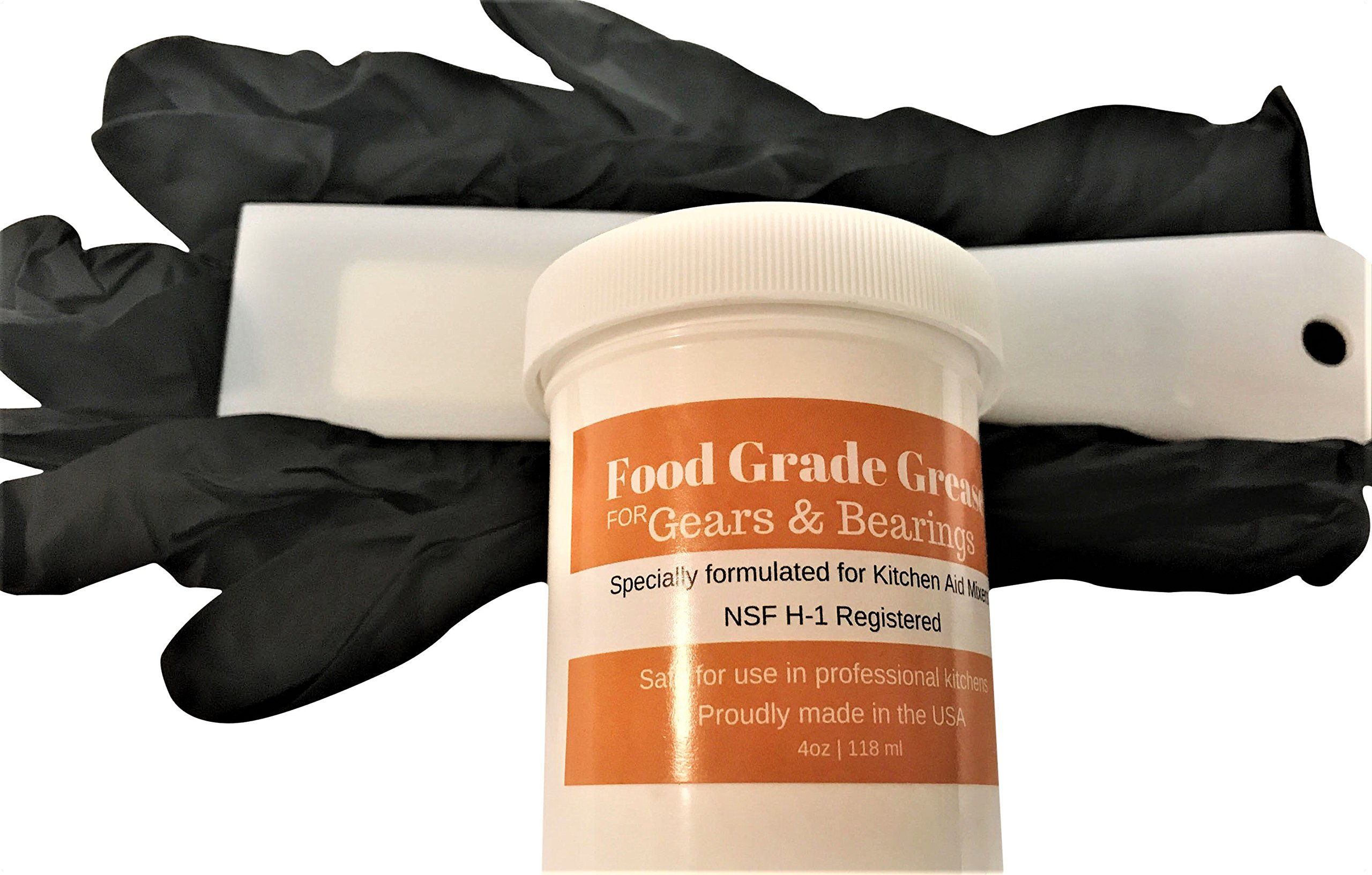 (REPAIR KIT) 4oz Food Grade Grease for KitchenAid Stand Mixer With Gloves and Putty Knife - MADE IN THE USA