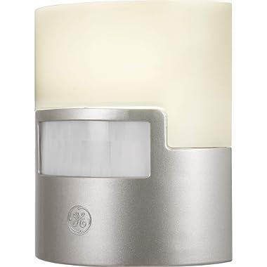 GE Ultrabrite LED Night Light, Motion Sensor, Dusk-to-Dawn, Plug-in, 40 Lumens, Soft White, UL Listed, Ideal for Bedroom, Nursery, Bathroom, Kitchen, Hallway, Silver, 29844, 1 Pack