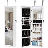 SONGMICS 18 LEDs Jewelry Cabinet 13 Brush Holes Lockable Wall Door Mount Jewelry Armoire Organizer with Mirror White UJJC85W
