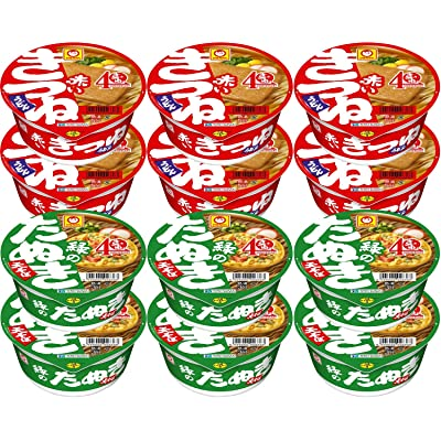 【3日まで】マルちゃん 赤いきつねと緑のたぬき 2種各6個セット 税込1,277円(d払いで実質1,145円)