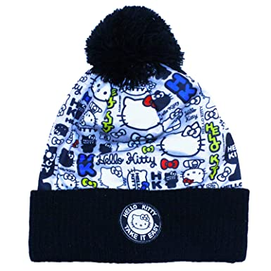 35f8e311e10 Image Unavailable. Image not available for. Colour  Girls Hello Kitty Take  It Easy Beanie Bobble Hat Hello Kitty All Over Slogan Design Age