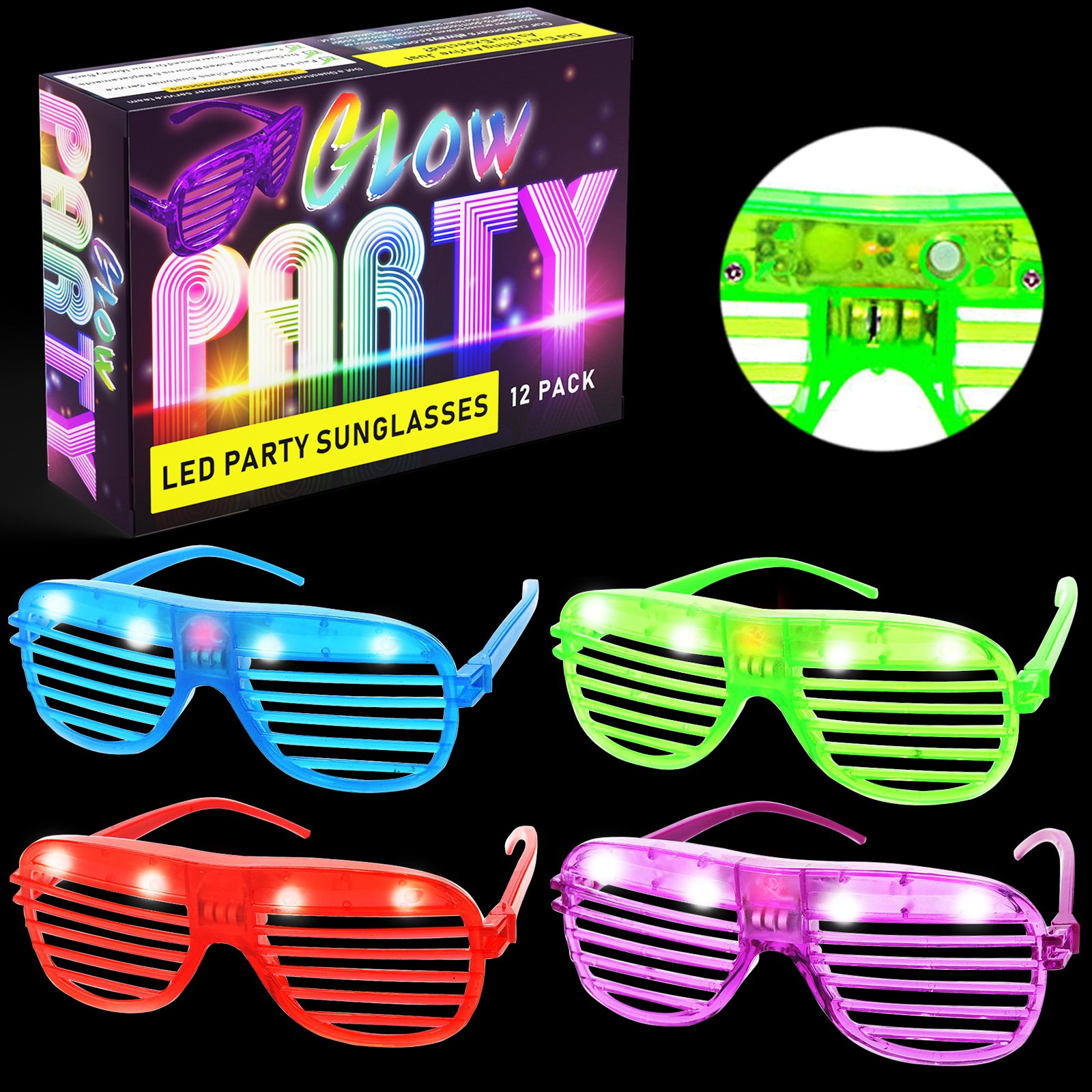 LED Glasses & Kids Party Favors - 12 Pack Glow in The Dark Light up Neon Parties Supplies for Raves and Teen Birthdays - Bulk Shutter Shades Fun for All Ages and Glowing Events!