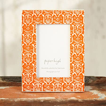 fair trade vidya mango wood orange photo frame 6 x 4 amazon co uk