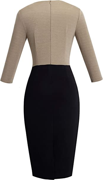 Women's 3/4 Sleeve Colorblock Sheath Pencil Church Dress