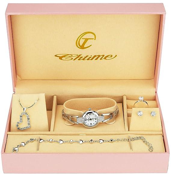66b8ef40c016 Caja de Regalo Reloj Mujer - Juegos de Joyas- Collar-Anillo- Pendientes   Amazon.es  Relojes