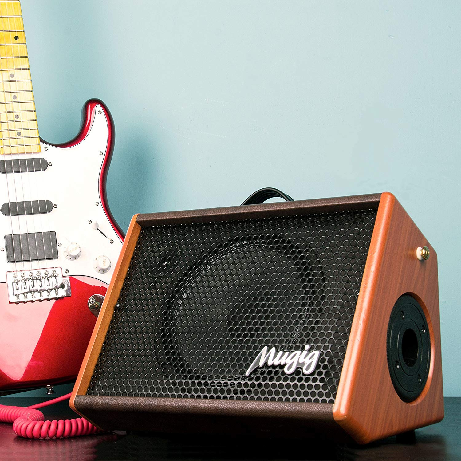 Electric Guitar Amplifier, Mugig Guitar Amplifier 25W, with 3-Band EQ, DSP Effect, Two Seperate Channel for Guitar/Micphone, Support Bluetooth/Charging/Recording/Earphone - Wooden by Mugig