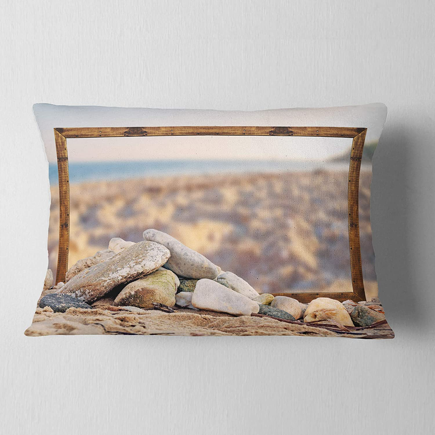 Designart CU9385-12-20 Framed Effect Blurred Seashore Landscape Printed Lumbar Cushion Cover for Living Room Sofa Throw Pillow 12 in Insert Side in x 20 in