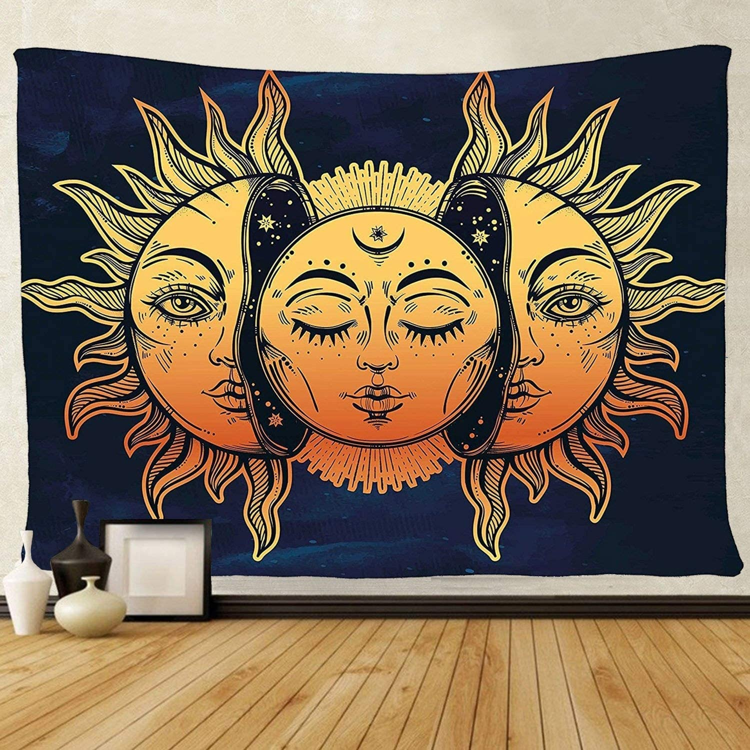 Amazon Com Tenaly Tapestry Wall Hanging Sun And Moon Psychedelic Small Wall Tapestry With Art Chakra Home Decorations For Bedroom Dorm Decor In 51x60 Inches Home Kitchen