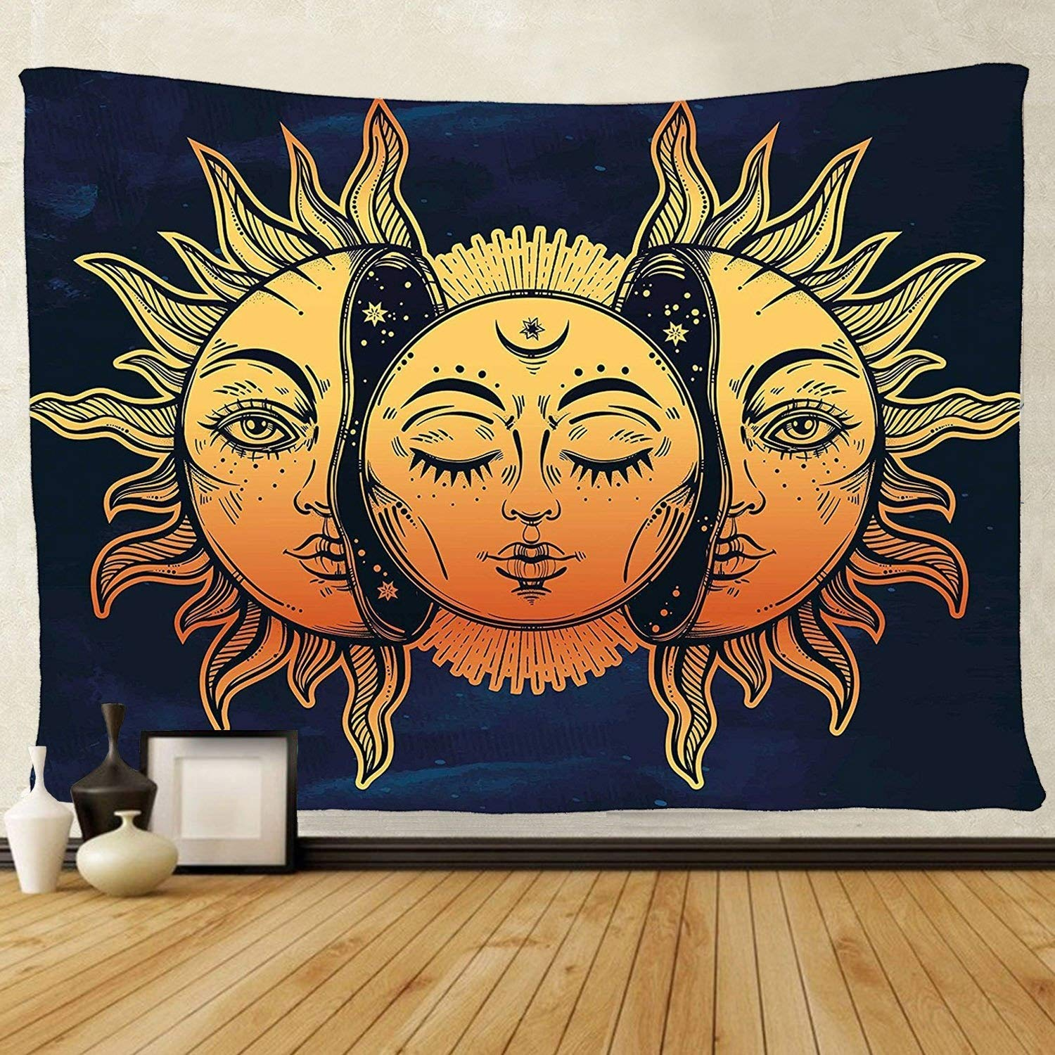 tenaly Tapestry Wall Hanging, sun and moon Psychedelic small Wall Tapestry with Art chakra Home Decorations for Bedroom Dorm Decor in 51x60 Inches
