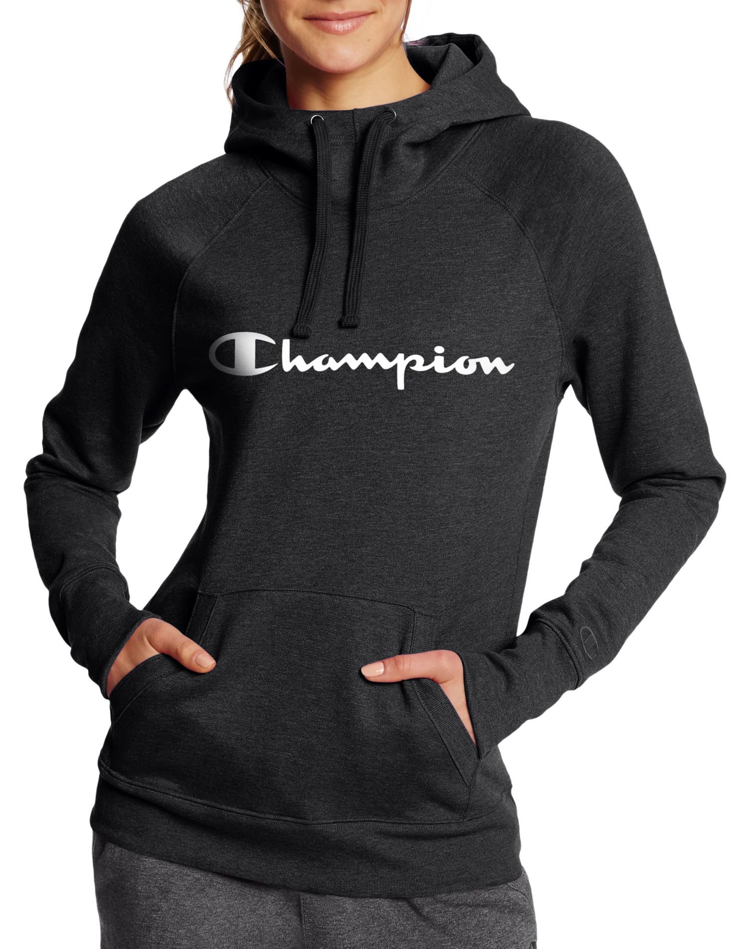 Champion Women's Fleece Pullover Hoodie, Black Script, XL