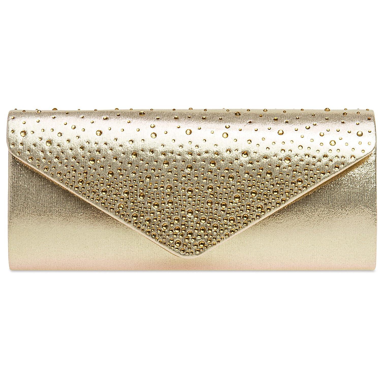 CASPAR TA422 elegante Damen Baguette Envelope Clutch Tasche mit Strass 4251549606567