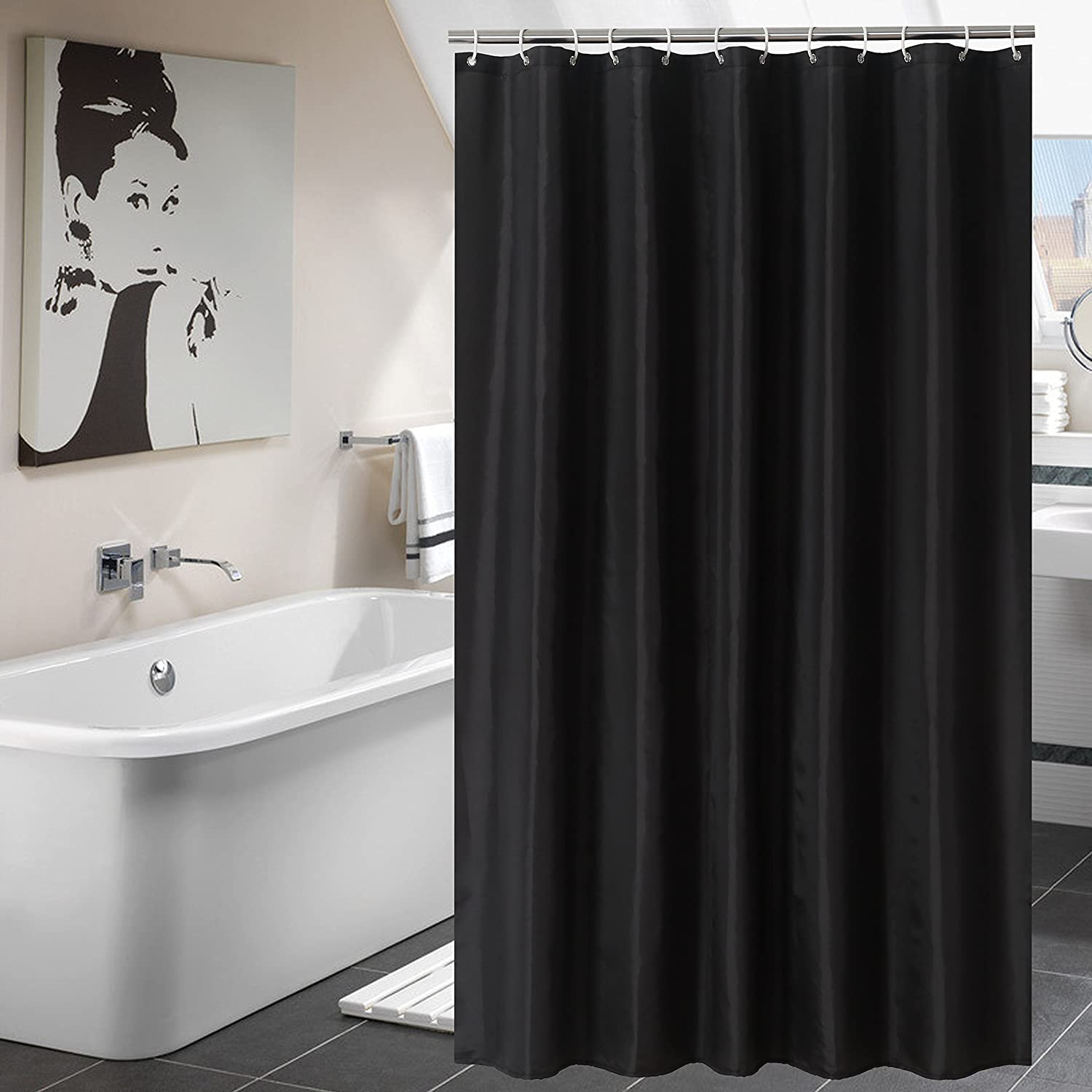 YUUNITY Shower Curtain Mildew Resistant Mold Polyester Fabric Bath With Hooks Bathroom AccessoriesWaterproof Non Toxic Eco Friendly