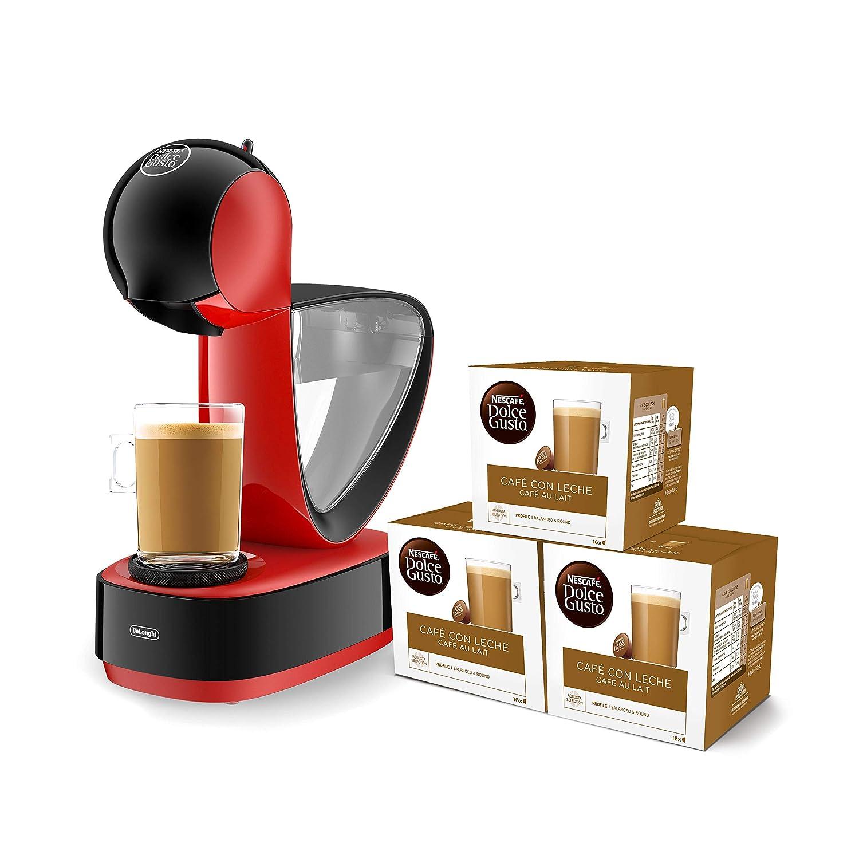 R - Cafetera de cápsulas Nestlé Dolce Gusto, 15 bares de presión, deposito extraíble, bandeja regulable a 3 alturas, color rojo + 3 packs de café Dolce ...