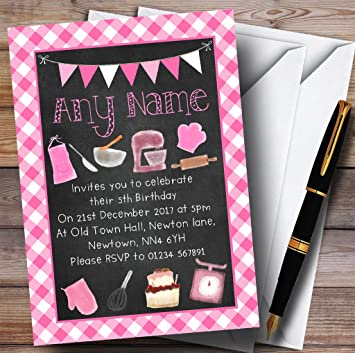 10 X Invitations Pink Chalk Effect Baking Cooking Childrens Birthday Party Invites Any Wording