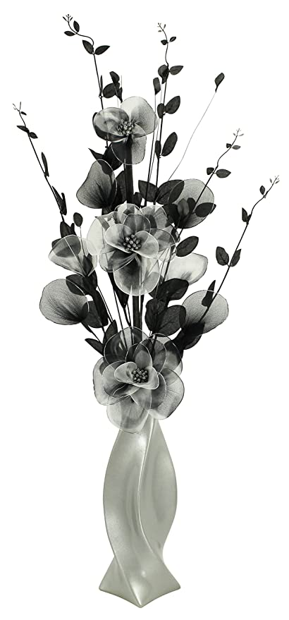 Light Grey Vase With Black And White Artificial Flowers Home