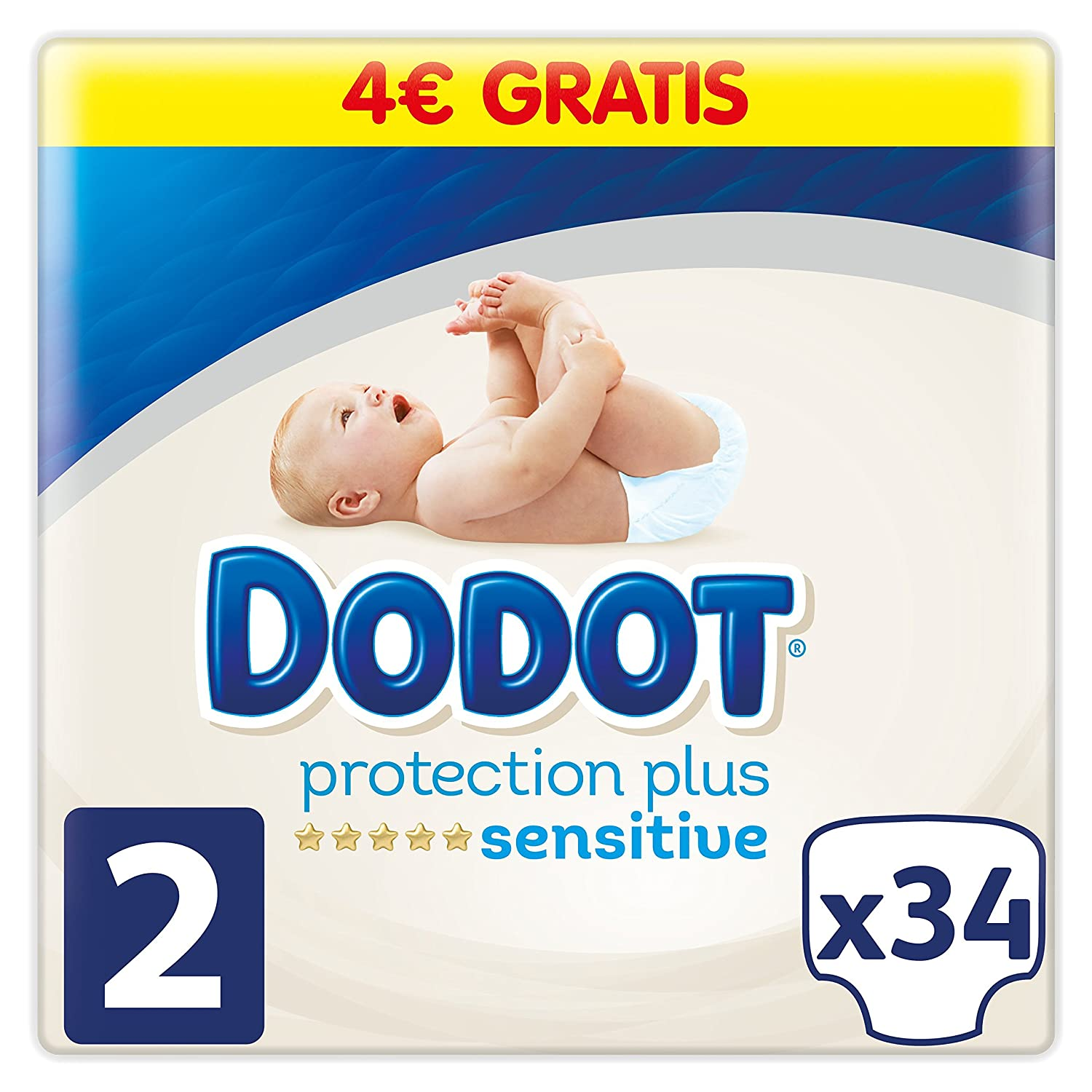 Dodot Pañales Protection Plus Sensitive, Talla 2, para Bebes de 4-8 kg