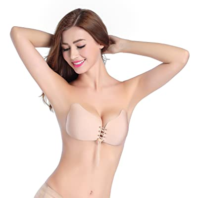 Bruce Lin Women's Strapless Self Adhesive Bra Reusable Silicone Push Up Breathable Invisible Bras With Drawstring