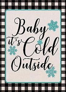 Covido Home Decorative Winter Small Garden Flag, Baby It's Cold Outside House Yard Outdoor Christmas Buffalo Plaid Check Decor, Xmas Holiday Farmhouse Seasonal Burlap Decorations Double Sided 12 x 18