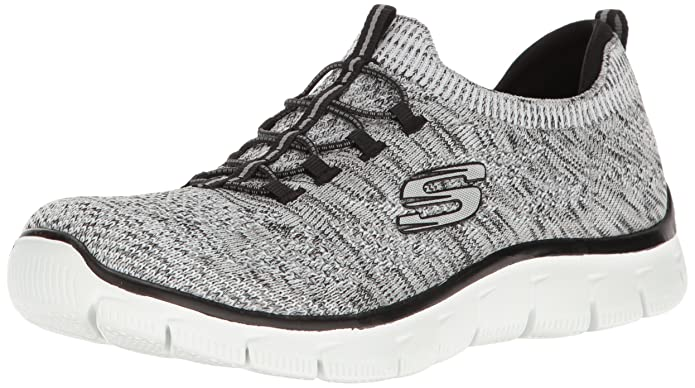 Skechers Empire-Sharp Thinking, Zapatillas sin Cordones para Mujer, Negro (Black/White), 38 EU