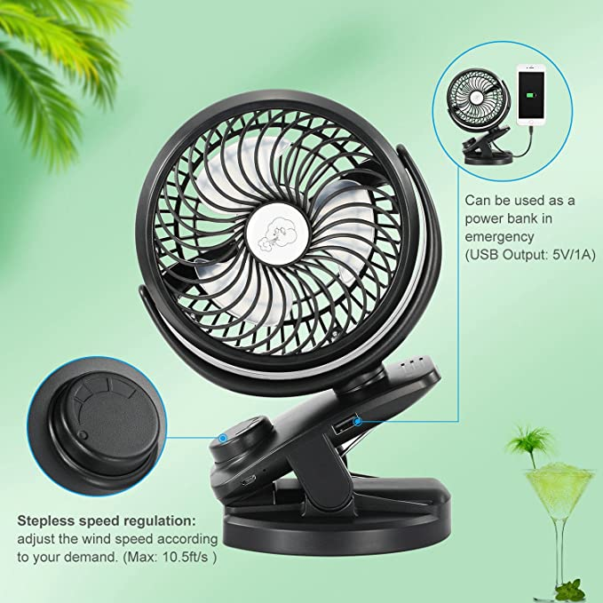 Fitfirst Desk Fan USB 5000mAh Rechargeable Battery Operated Clip Portable Personal Fan for Baby Stroller, Car, Gym, Office, Outdoor, Travel, Camping