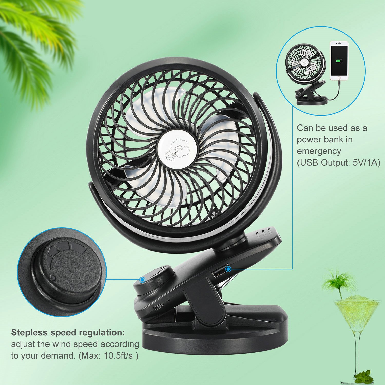 COMLIFE Portable Fan F150, USB Desk Fan with Rechargeable 4400 mAh Battery,Mini Clip on Fan with Powerbank &Aroma Diffuser Function,Stepless Speeds, Ideal for Stroller, Camping, Office, Outdoor,Travel by COMLIFE (Image #3)