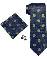 Landisun(レンディスン) 様様 水玉 メンズ シルク ネクタイ セット:ネクタイ+ハンカチ+カフス