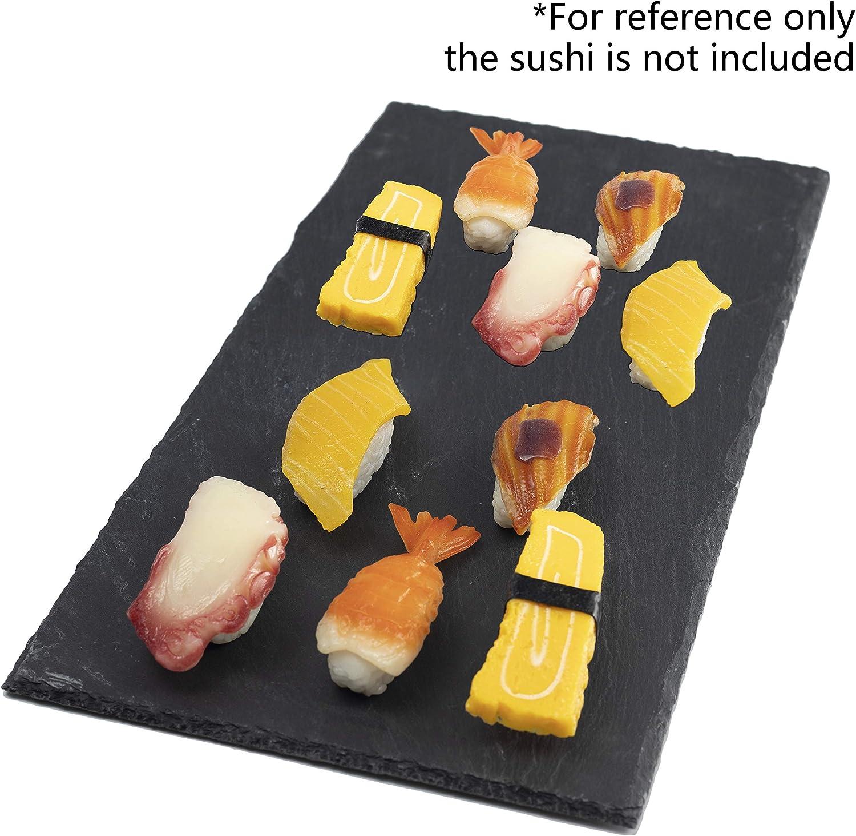 7.8 in Round Slate Flat Rectangular Sushi Serving Tray Plates 4 Pcs Sushi Plates Set Stone Rock Style Cheese Board Platter 20 cm