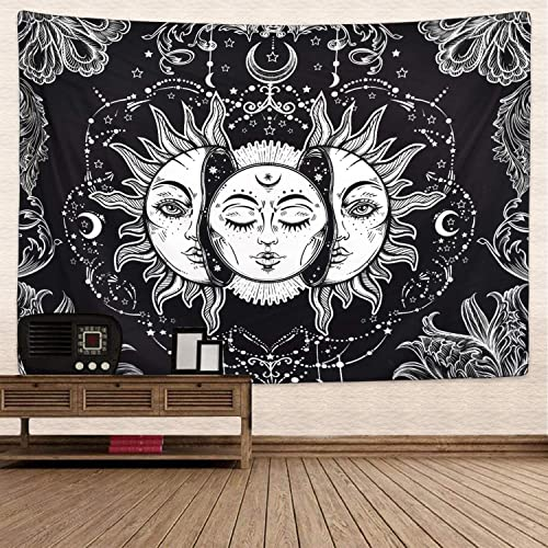 Krelymics Sun and Moon Tapestry Burning Sun Tapestry Black and White Mystic Fractal Faces Tapestry for Room