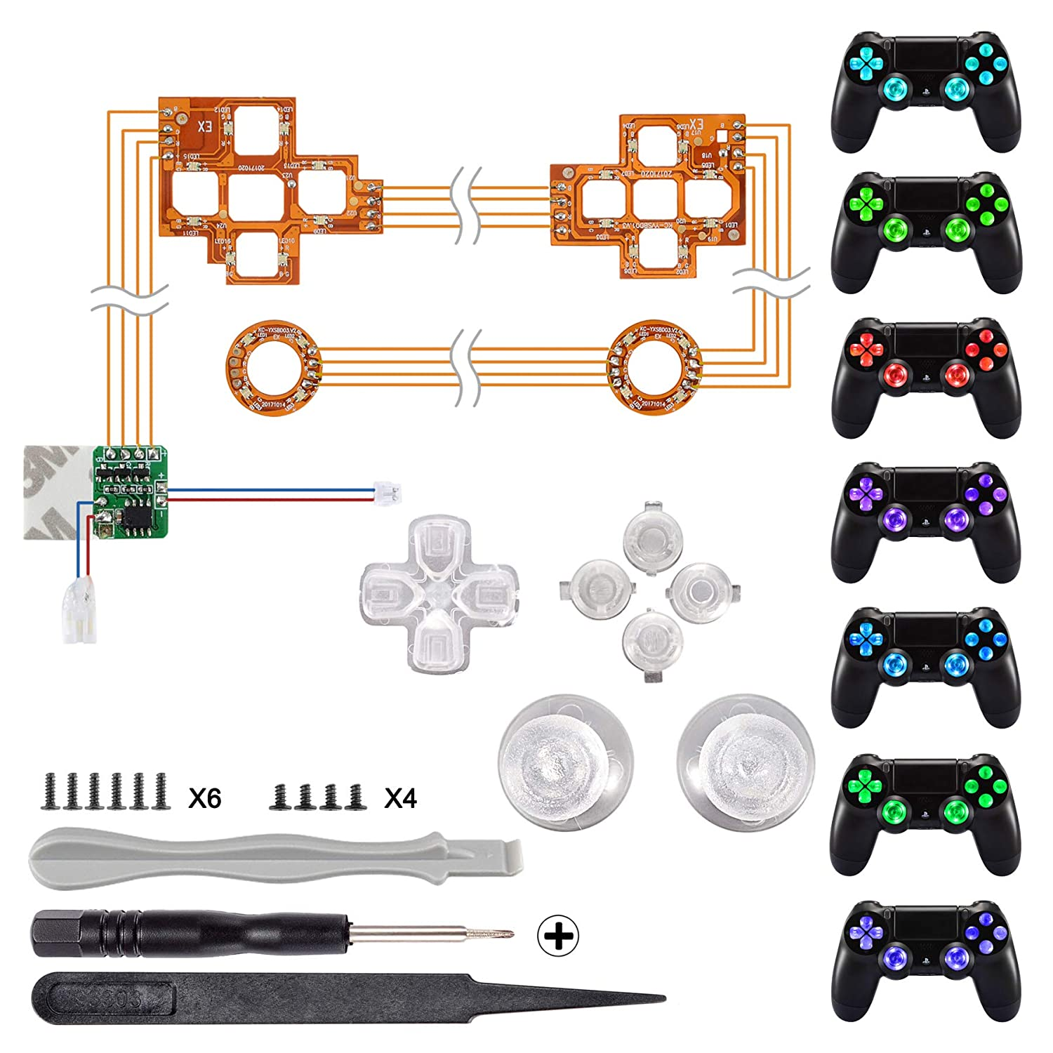 Amazon.com: eXtremeRate Multi-Colors Luminated D-pad Thumbsticks Face Buttons (DTF) LED Kit for PS4 Controller 7 Colors 9 Modes Touch Control: Computers & ...