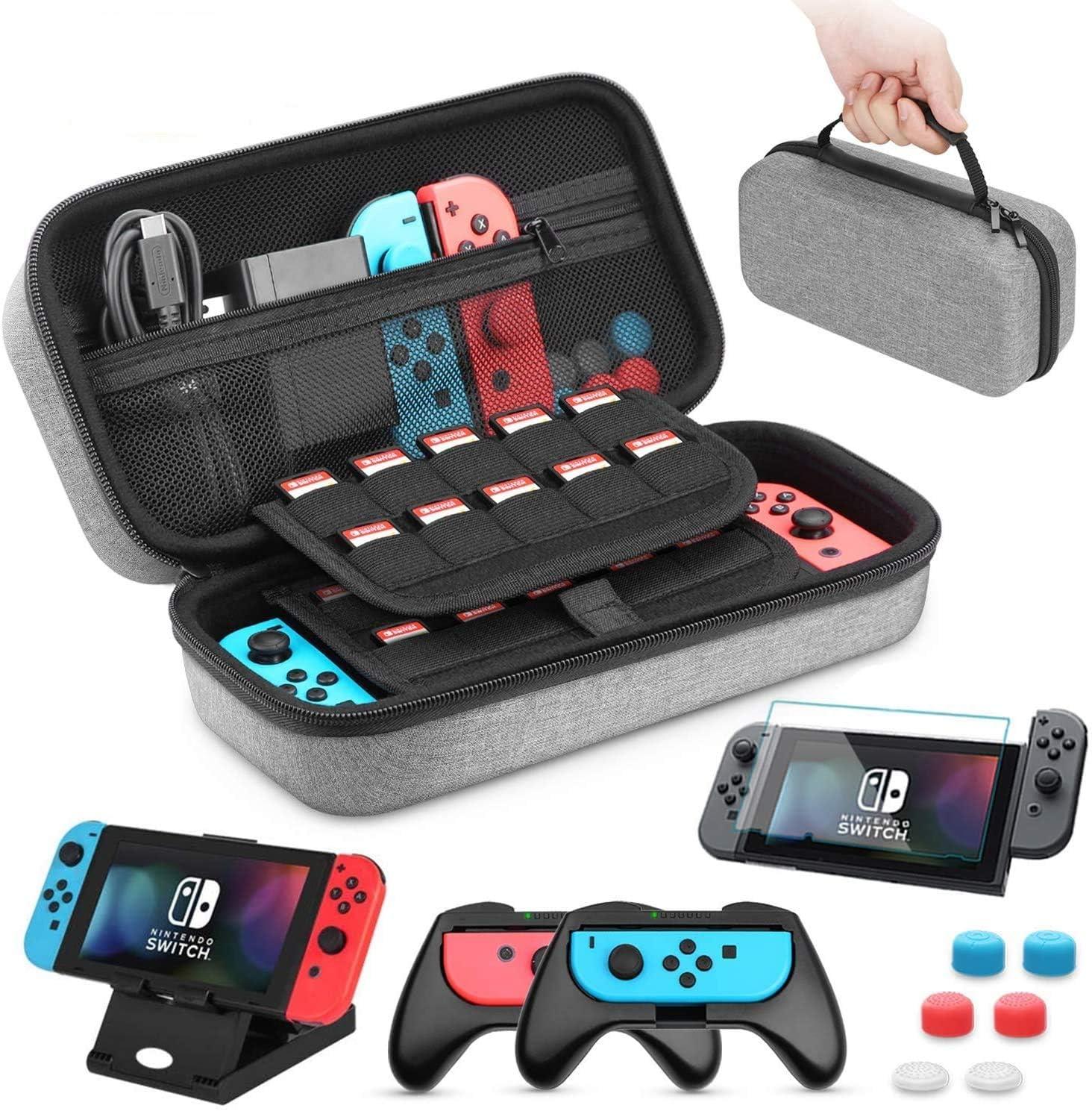 Funda para Nintendo Switch, HEYSTOP 11 en 1 Nintendo Switch Estuche Portátil, 2 Joy-Con Grips para Nintendo Switch, PlayStand Ajustable, Protector de Pantalla con 6 Tapas de Agarre para Pulgar (Gris)