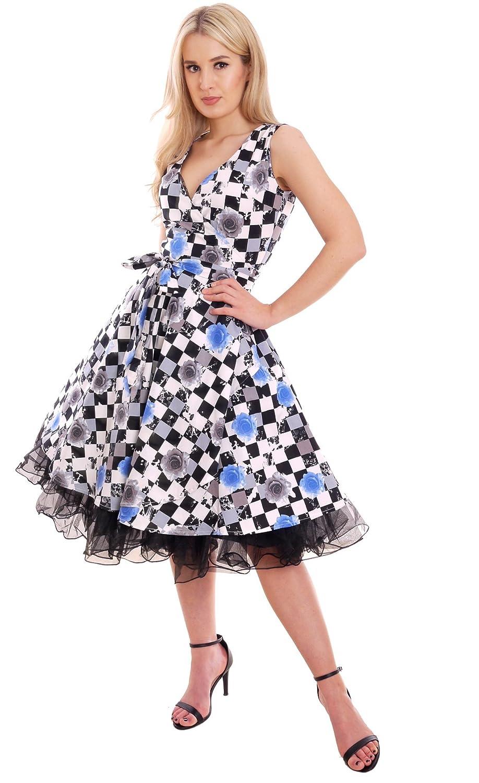 MontyQ Sommerkleid Wickelkleid Vintage Stil Swing 50er Rock\'n Roll ...