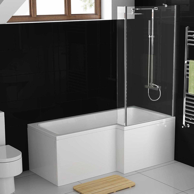 1700 mm derecha en forma de L de mano moderna ducha bañera con mampara de ducha + Panel BL216: iBathUK: Amazon.es: Hogar