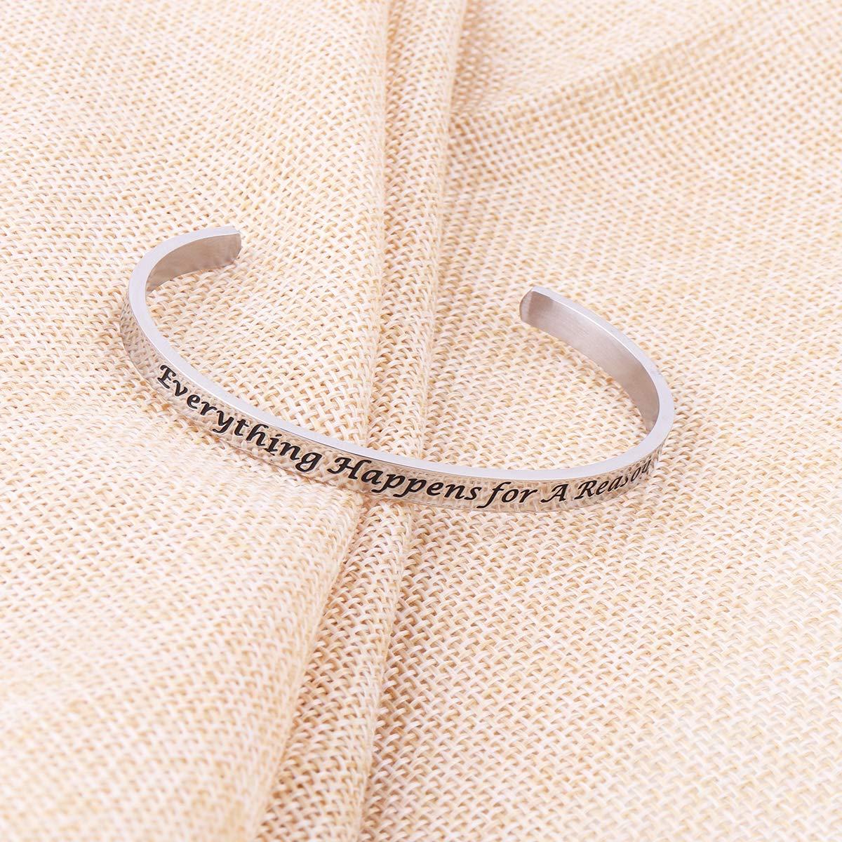 AZFEIYA Inspirational Bracelet Confidence Jewelry Motivational Cuff Bracelet Everything Happens for a Reason Encouragement Bracelet Personalized Birthday Gift (Silver Bracelet) by AZFEIYA (Image #4)