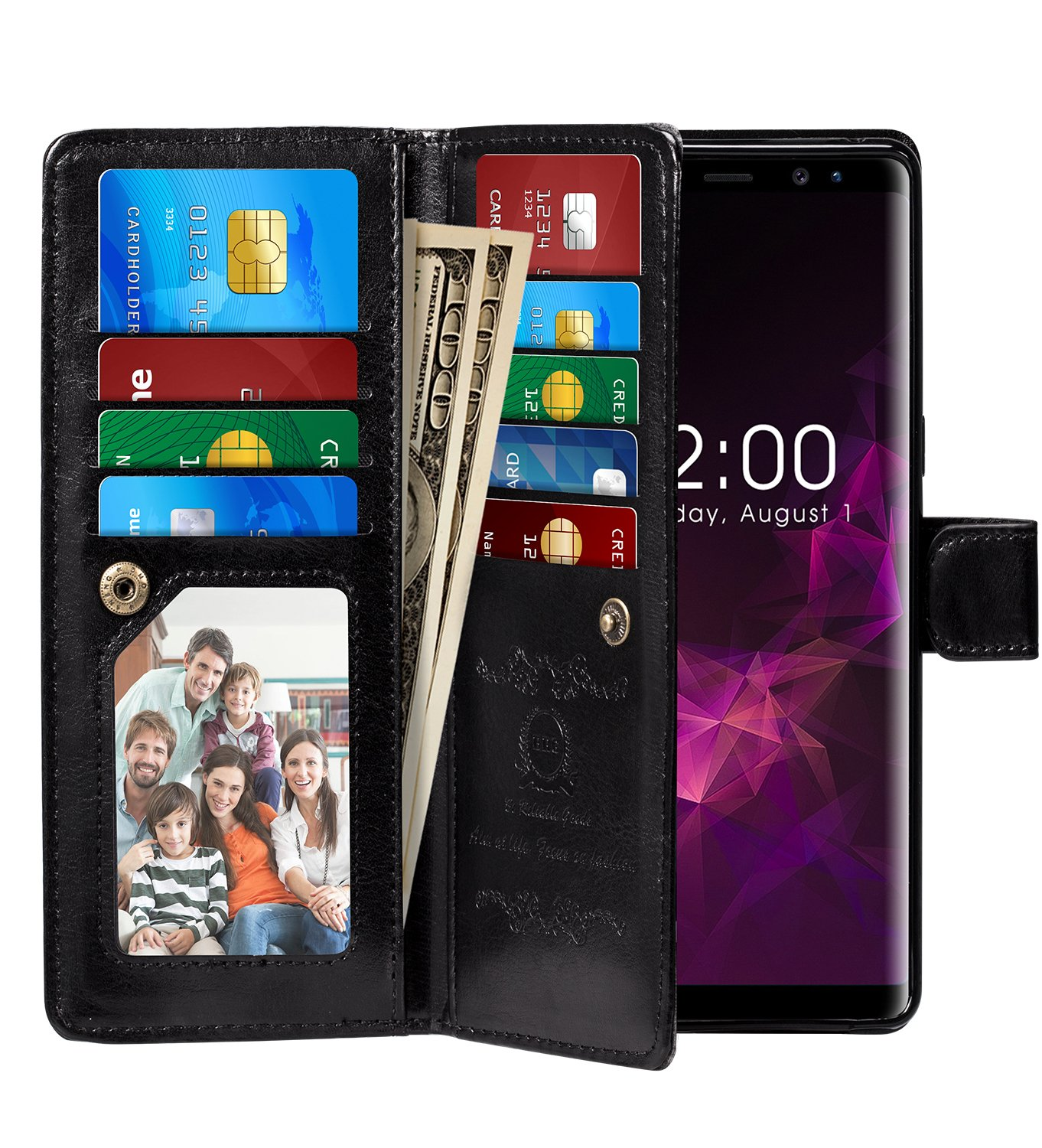 Galaxy Note 9 Case, Pasonomi Note 9 Wallet Case with Detachable SlimCase - [Folio Style] PU Leather Wallet case with ID&Card Holder Slot Wrist Strap for Samsung Galaxy Note 9 (Black)