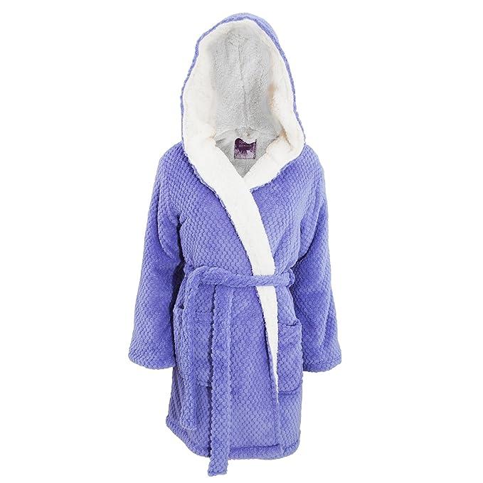 Foxbury - Bata de estar por casa de polar sherpa con capucha para mujer (Grande
