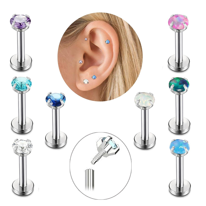 FIBO STEEL 16g Stainless Steel CZ Opal Tragus Earrings for Women Girls Cartilage Helix Lip Monroe Daith Piercing Body Jewelry 6mm P058SET-6-2