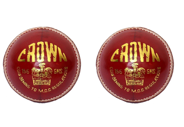 CW Lot de 2Couronne Rouge Sports Balle de cricket fabriqué à partir de cuir tanné alun Full cousu à la main idéale pour les sports professionnels lecteurs Régulation de la MCC Approuvé 5.5G Poids