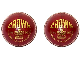Cw Set Of 2 Crown Red Sports Cricket Ball Made From Alum