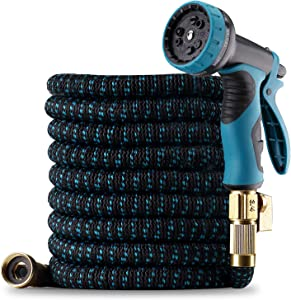"""Homeleader 25ft Expandable Garden Hose, Leakproof Flexible Water Hose, Durable Multilayer Latex Core with 9 Function Spray Nozzle, 3/4"""" Solid Brass Fittings, Easy Storage Retractable Expanding Hose"""