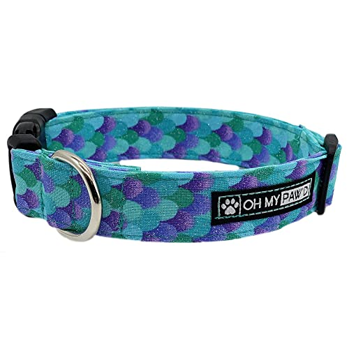 Mermaid Scales Collar for Pets Size Medium 3//4 Inch Wide and 13-20 Inches Long Hand Made Dog Collar by Oh My Pawd
