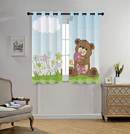 IPrint Stylish Window Curtains,Kids,Cartoon Style Cute Teddy Bear With Toy  In Meadow