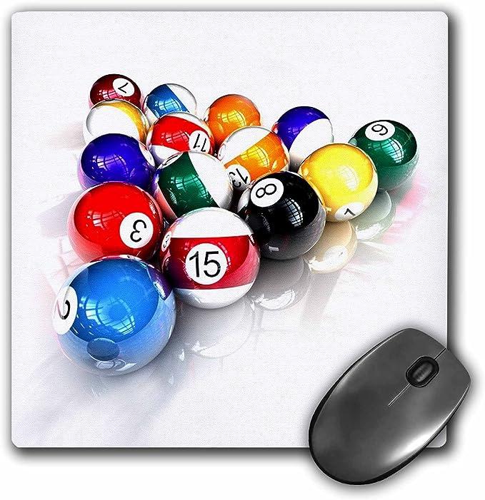 3dRose LLC 8 x 8 x 0.25 Inches Mouse Pad, bolas de billar piscina ...