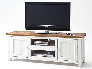Tv lowboard weiß holz  TV-Lowboard weiß Holz Landhausstil Byron Shabby: Amazon.de: Elektronik