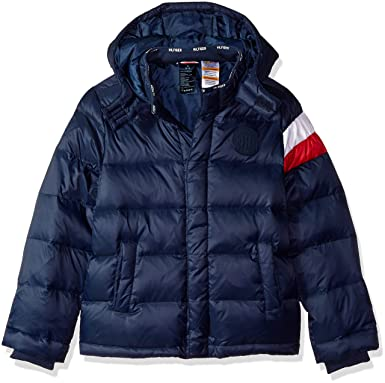 b160c18c Tommy Hilfiger Adaptive Boys' Little Puffer Jacket with Magnetic Buttons,  core Navy, X