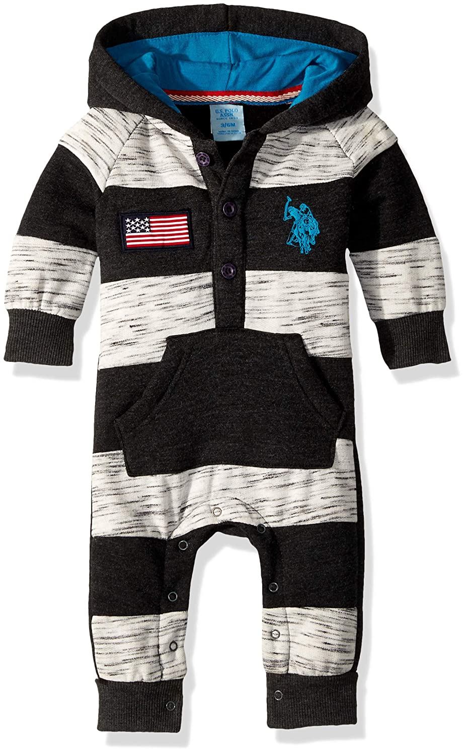 U.S. Polo Assn. PANTS ベビーボーイズ 6 - 9 Months Thicket Striped Dark Heather Gray B0799DQNMK