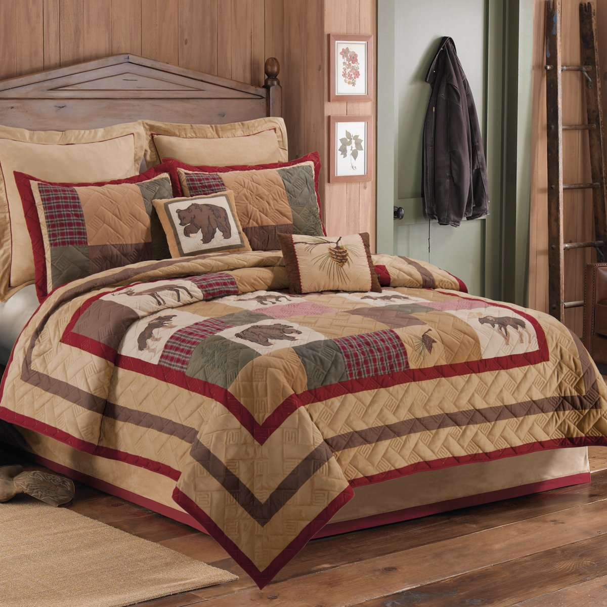 cabin king black size rustic tapestry coverlet decor bedding bed crossing mwgckbrc forest bear