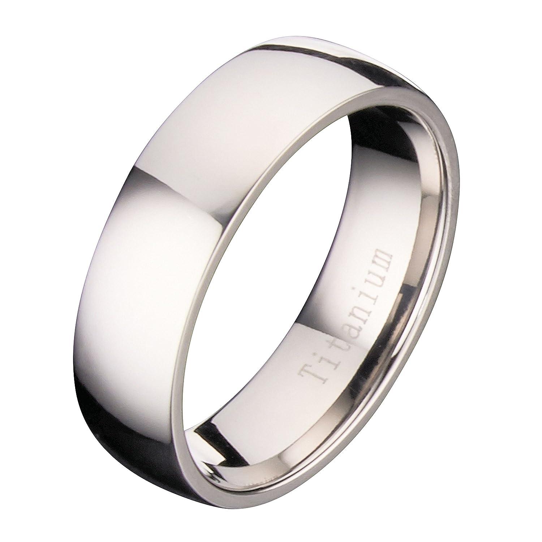 MJ 7mm Polished Comfort Fit Titanium Wedding Band Ring