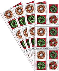 Holiday Wreaths 4 Books of 20 Forever US First Class Postage Stamps Christmas Tradition Celebration (80 Stamps)