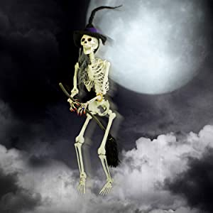 Life-Size Hanging Skeleton with Witch Hat and Broomstick Halloween Prop